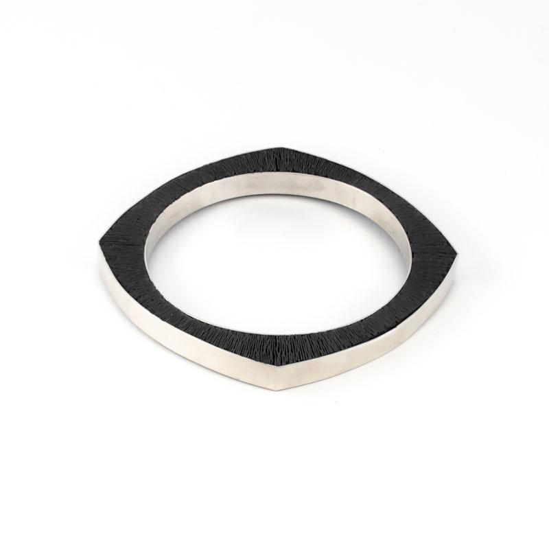 SporenIII-Armband-zilver-zwart