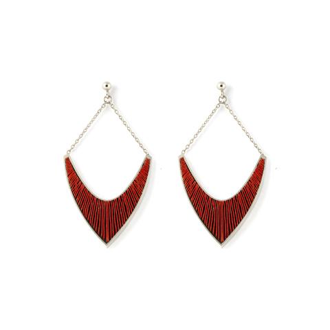 Sporen-oorhangers-v-zilver-rood
