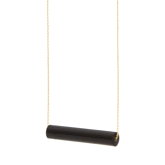 necklace staaf-blakishblue-geel