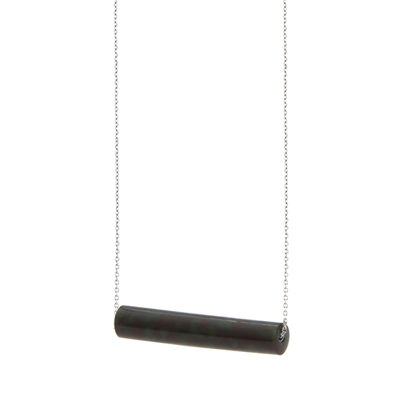 necklace staaf-blakishgreen-zilver