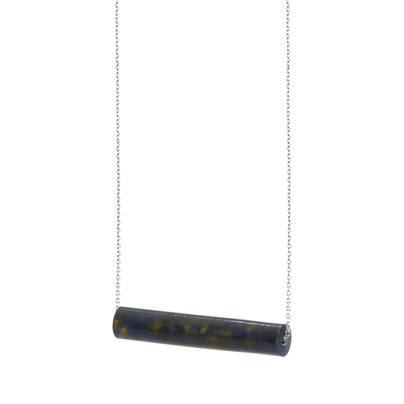 necklace staaf-blakishyellow-zilver