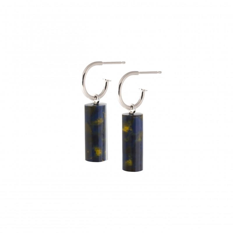 oorbel staaf kort-blackishyellow-zilveroorbel staaf kort-blackishyellow-zilver