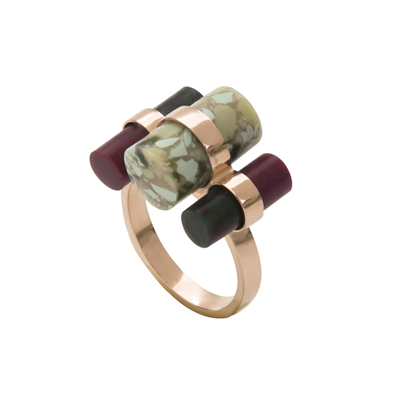 tripple ring- blackish green_plum_green marble